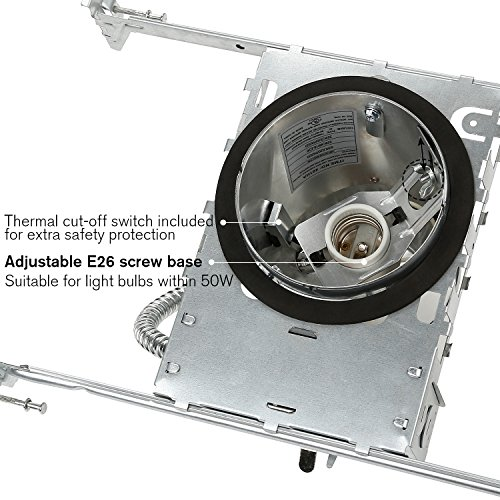 TORCHSTAR 4 Inch New Construction Recessed Housing, IC Rated Air Tight Ceiling Downlight Can with Junction Box, E26 Screw Base, UL-Listed, Aluminum, Pack of 10 by TORCHSTAR (Image #2)