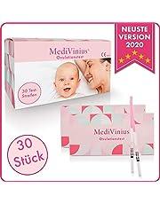 MediVinius Ovulationstest 30 Streifen - Fruchtbarkeitstest für Frauen - Teststäbchen für Ovulation Tests - Eisprung Teststreifen - praktisches Eisprung Messgerät LH Teststreifen