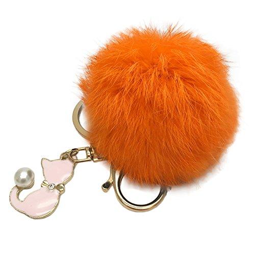 Orange Cat Charm - Quietcloud Cute Cat Keychain Plush Ball Car Keyring Bag Pendant Charm Gift Faux Pearl (Orange)