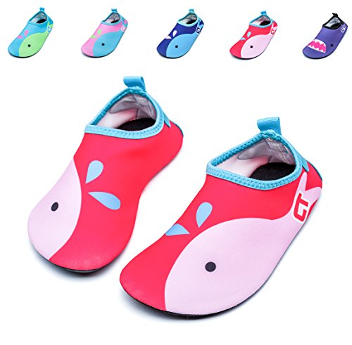 Giotto Kids Swim Water Shoes Quick Dry Non-Slip For Boys & Girls, Pink, (Kids Beach Shoe)