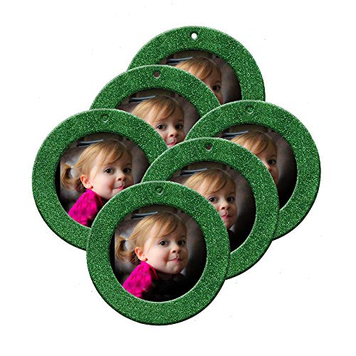 Mini Magnetic Glitter Christmas Photo Ornaments - 6-Pack, Round - Green