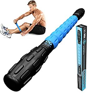 Physix Gear Sport Muscle Roller Stick - Best Deep Tissue Massager for Trigger Points, Leg Cramps, Quads, Calf & Hamstring Tightness - Myofascial Release - Travels Easily and No Annoying Squeaks (BLU)