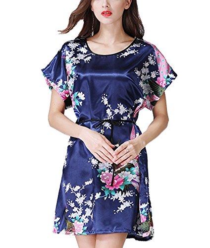 Camicia Camicia donna raso da Nightgowns notte floreale Navy notte Blossoms da da Peacock camicia and Asskyus da Blu notte in 6d1qwg6x