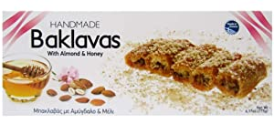 Handmade Baklavas - All Natural - Choose Your Favorite Filling - Imported from Greece - Candianuts - 6.17 oz box with 5 pieces (With Honey & Almonds)