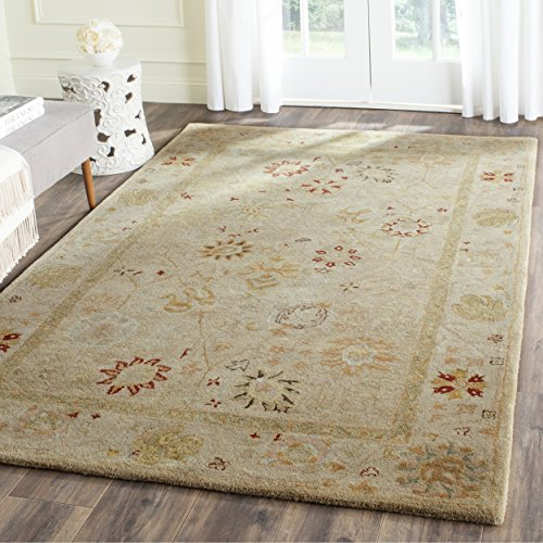 Safavieh Antiquities Collection AT859B Handmade Traditional Oriental Taupe and Beige Wool Area Rug (4′ x 6′) For Sale