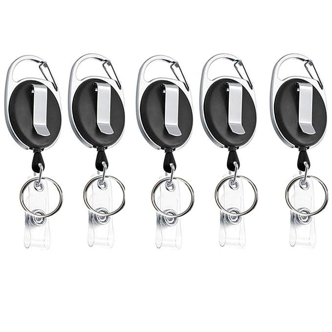 Xinlie 5 Piezas Llaveros Retráctil de Tarjeta Llavero Retráctil de Acero con Clip de Cinturon Cordón Extensible 65cm Ovalado con Clip y Llavero ...