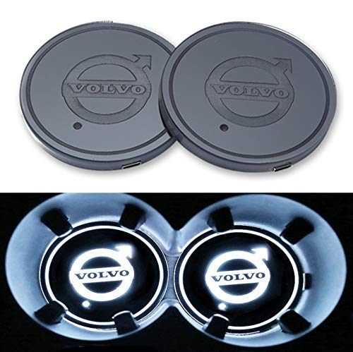 monochef Auto sport 2PCS LED Cup Holder Mat Pad Coaster with USB Rechargeable Interior Decoration Light (Volvo)