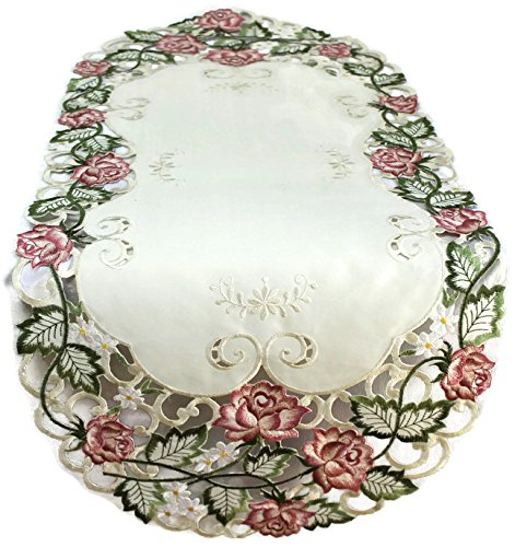Doily Boutique Table Runner Embroidered with Victorian Pink Roses on Ivory Fabric, Size 54 x 15 inches