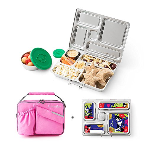 PlanetBox Rover Lunchbox- Pink Carry Bag with Retro Kitty Magnets