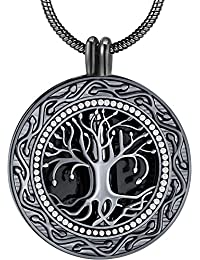 Memorial Gifts, Always in My Heart with 1 or 2 Vials Urn Locket Pendant Necklace, Tree of Life Cremation Jewelry for Ashes, Keepsake for Dad Sister Grandma Aunt Wife Daughter Mom