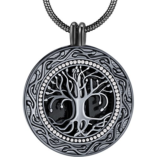 Father's Day Memorial Gifts - 'Always in My Heart' Black Urn Locket Pendant Necklace - 'Tree of Life' Cremation Jewelry for Ashes - Keepsake for Sister Grandma Aunt Wife Daughter Mom Dad