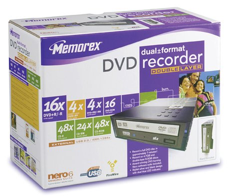 Memorex 3202 3288 DVD Double-Layer Recorder 16x16 Dual Format External Drive ()
