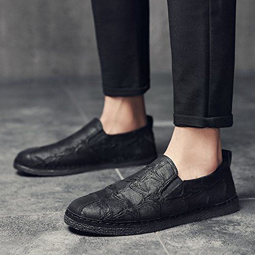 Pp Mode Heren Vintage Low-top Moderne Mode Sneaker Casual Lederen Schoenen Zwart