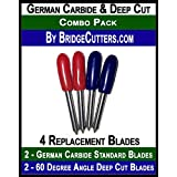 "Combo""German Carbide & Deep Cut Replacement Cutting Blades for Craft Cutting Machines Cricut Bridge 4 blades"""