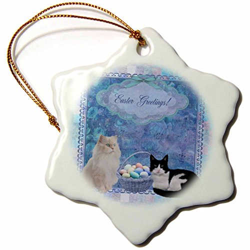 3dRose Beverly Turner Easter Design and Photography - Kitty Cats with Easter Basket of Eggs on Musical Sheet Background, Blue - 3 inch Snowflake Porcelain Ornament ()