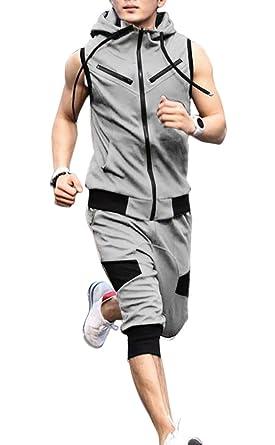 fc406367930cd6 Amazon | [フロラン](Froyland) メンズ スウェット セットアップ ノースリーブ パーカー クロップドパンツ 上下 セット ジャージ  スポーツ トレーニング カジュアル ...