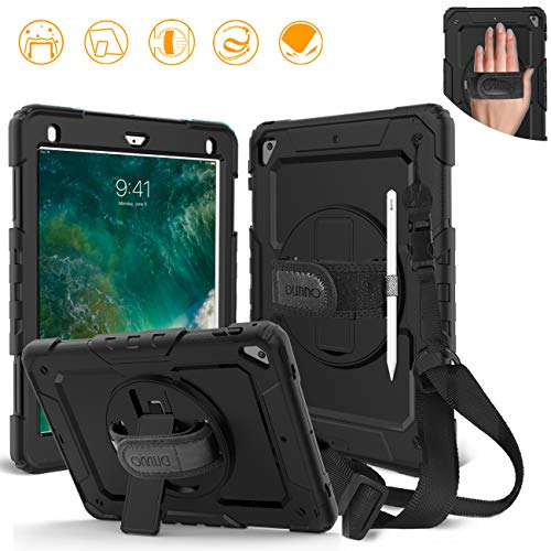 DUNNO iPad 9.7 2017/2018 case - Heavy Duty Protective Case with 360° Rotating Kickstand & Built-in Screen Protector Shockproof Design for Apple iPad 9.7 inch 2017/2018 (5th/6th Gen) (Black)