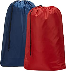HOMEST 2 Pack Large Nylon Laundry Bag, Machine Washable Large Dirty Clothes Organizer, Easy Fit a Laundry Hamper or Basket, Can Carry Up to 4 Loads of Laundry, Blue and Red