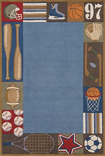 - Momeni Lil Mo Whimsy Denim Sports Hand-Tufted and Hand-Carved Rug (2' X 3') Blue 2' x 3' 2' x 3' Rectangle