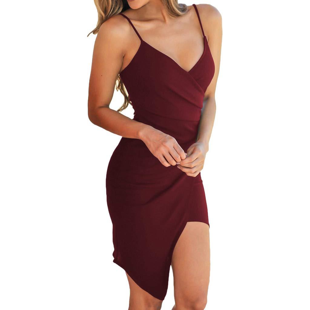 Abito Vestito Donna Gonna Lunga Elegante Abito Nero Orlo irregolar Dress Donna Estate Veste Cocktail Vestito Senza Maniche Party Vestito Lungo Abiti Lunghi Abito Sera Weant Abiti Donna