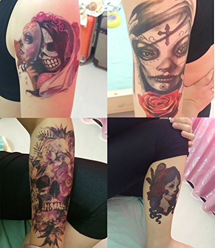 DaLin Temporary Tattoos Day of the Dead Halloween 4 Sheets (Lady 2) (Day Of The Dead Face Tattoo)