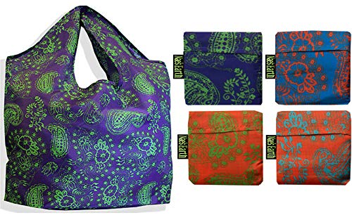 Nae's Earth Reusable Grocery Shopping Bag Tote | Paisley Hippie 4 Pack with Carry Pouch (The Best Nae Nae)