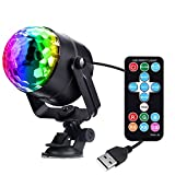 Miuko Disco Ball DJ Light 3W USB Strobe LED Party Light Portable 7 Colors Sound Activated Dance Light Stage DJ Lights for Festival Bar Club Party in Car or Outdoor (with Remote)