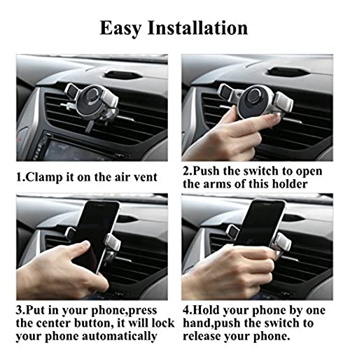 hot sale Car Phone Holder, 360 Degree Rotatable Universal Air Vent Mount Cradle Smart One-Touch Design for iPhone Samsung and Other Smart Cellphone by HonShoop