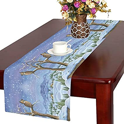 Winter Landscape Painting Long Table Runneres, Snowy Night Owl On Tree  Branch Rectangle Table Runner