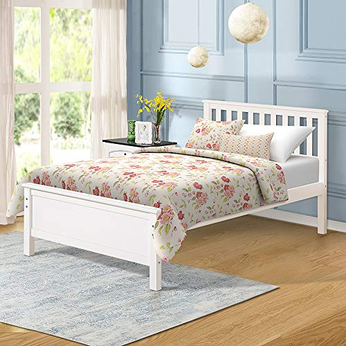 Wood Platform Bed with Headboard Footboard Wood Slat Support No Box Spring Needed Twin White