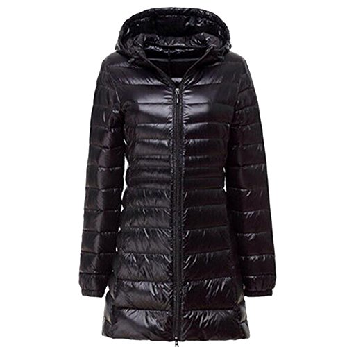 BOZEVON Women's Outerwear Down Jacket Long Lightweight Hooded Winter Coat 10 Color Available Black