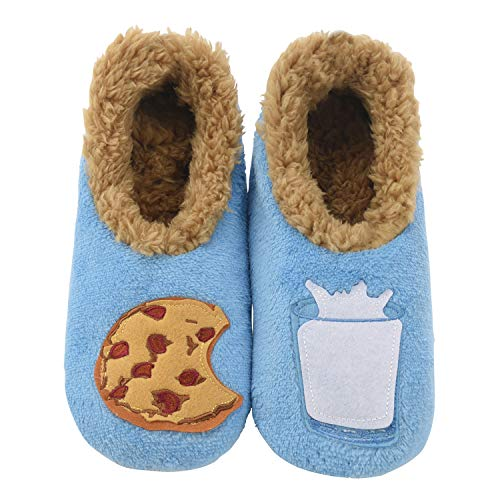 - Snoozies Womens Classic Splitz Applique Slipper Socks | Milk & Cookies | Medium