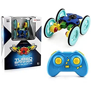 Coerni Christmas Gift for Kids - RC 2.4G 360°Spinning Flips Stunt Car With Color Flash, USB Rechargeable (Blue)