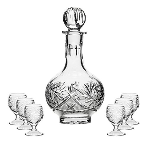 Crystal Glass Sherry Glass - Neman, Set of 16 Oz. Crystal Decanter and Six 1.5 Oz. Vodka Shot Glasses, Hand-Made Crystal Cut Liquor Sherry Shots and Carafe with Stopper, 1+6-Piece Set