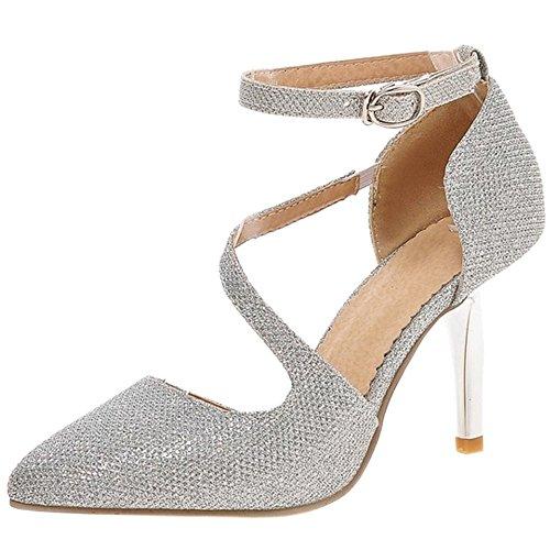 Coolcept Women Elegant Ankle Strap Court Shoes Silver