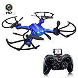 Drone with Camera, Potensic F181H RC Drone Quadcopter with HD Camera RTF 4 Channel 2.4GHz 6-Gyro Headless System-Blue (Upgraded with Altitude Hold Function)