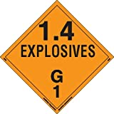Labelmaster PSR75 Explosive Class 1.4 G Hazmat Placard, Removable Vinyl (Pack of 25)