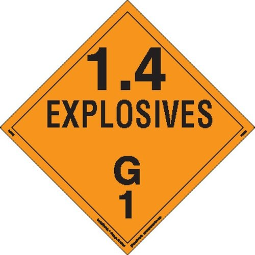Labelmaster PSR75 Explosive Class 1.4 G Hazmat Placard, Removable Vinyl (Pack of 25) by Labelmaster®