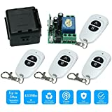 OWSOO 433MHz DC12V 1CH RF Wireless Remote Control Switch + 4PCS RF 433MHz Transmitter Remote Controls For Household Appliances Electronic Lock Control System