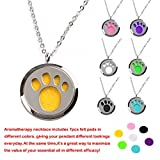 M.JVisun Cat Paw Prints Perfume Essential Oil Diffuser Stainless Steel Locket Necklace + Chain + 7 Pads