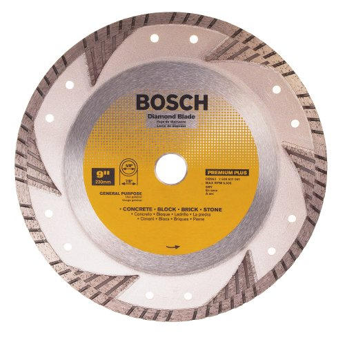 - Bosch DB963 Premium Plus 9-Inch Dry Cutting Turbo Continuous Rim Diamond Saw Blade with 7/8-Inch Arbor for Masonry