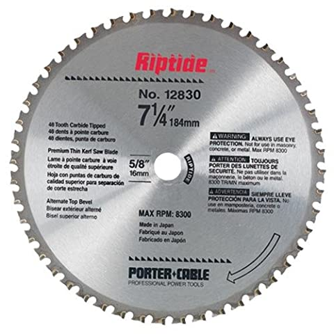 PORTER-CABLE 12830 Riptide 7-1/4-Inch 48 Tooth ATB Metal Cutting Saw Blade with 5/8-Inch and Diamond Knockout Arbor for Blade-Right - Porter Cable Metal