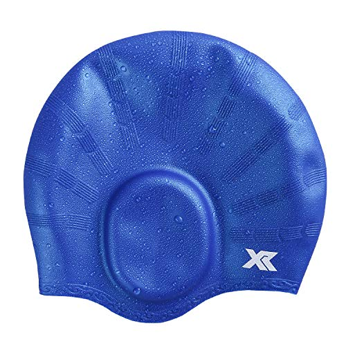 XR Swim Cap Silicone Raw Material 3D Ergonomic Design Comfortable Durable Ear Protection Universal Sized Swimming Cap for Men Women (Blue, 1-Pack)