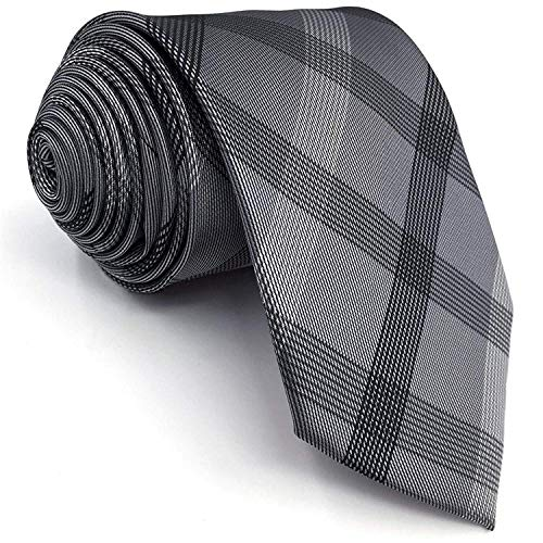 (S1 Shlax&Wing Extra Long Size Checked Gray Mens Neckties Ties 100% Silk 63