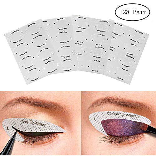 128 Pairs Eyeliner & Eyeshadow Non-Woven Stencil Stickers,