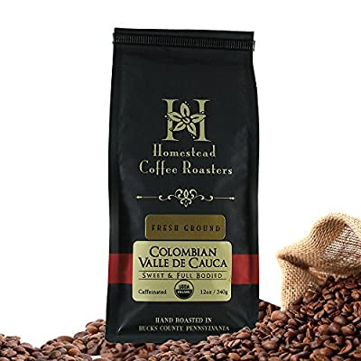 Gourmet Colombian Ground Coffee from 100% Organic Coffee Beans by Homestead Coffee Roasters-Organic and Fair Trade Select Best Tasting Coffee - 12 Oz Bag