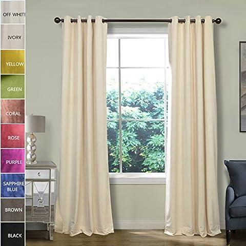ChadMade Blackout Lined Premium Velvet Curtain Ivory 100Wx96L Inch (1 Panel), Eyelet Grommet For Livingroom Bedroom Theater Studio, BIRKIN (Dark Layers Volume 2 Volume 1)