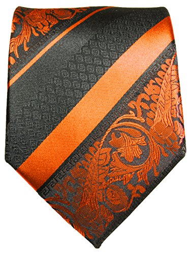 Cravate homme l'orange rayé noir ensemble de cravate 3 Pièces ( longueur 165cm )