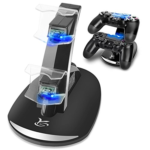 PS4 Controller Charger, Y Team Playstation 4 / PS4 / PS4 Pro / PS4 Slim Controller Charger Charging Docking Station Stand.Dual USB Fast Charging Station & LED Indicator for Sony PS4 Controller--Black
