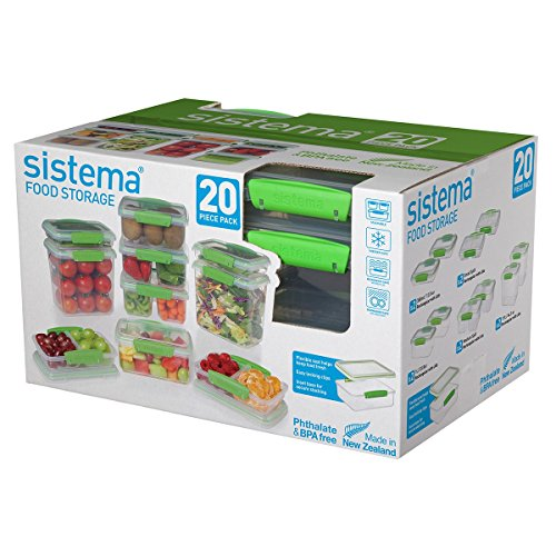 Split Food Container (Sistema 65601 Food Storage Containers, 20-Piece Green, Clear)